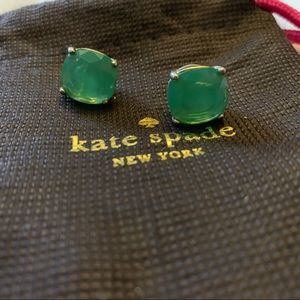 Kate Spade Green Emerald Large Stud Gold Earrings
